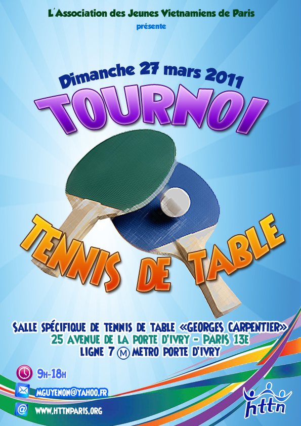 Tournoi de tennis de table association des jeunes vietnamiens de paris - Tableau tournoi tennis de table ...